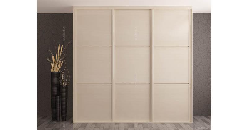 木纹系列--木纹移门衣柜(加拿大枫木)三格均分-横纹