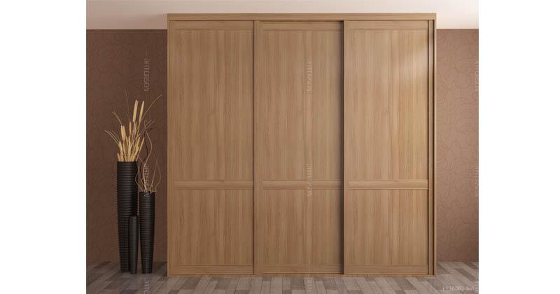 木纹系列--木纹移门衣柜(缅甸柚木)两格-竖纹平板